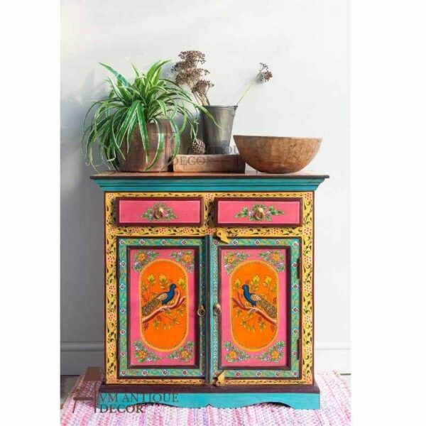Indian Hand painted Peacock SideBoard Cabinet Storage Drawer Desk/Wood Side Cabinet Dressers Desk/Indian