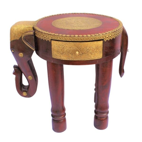 Wooden Natural Beautifull Handmade Low Elephant Fine Brass Drawer Coffee Table