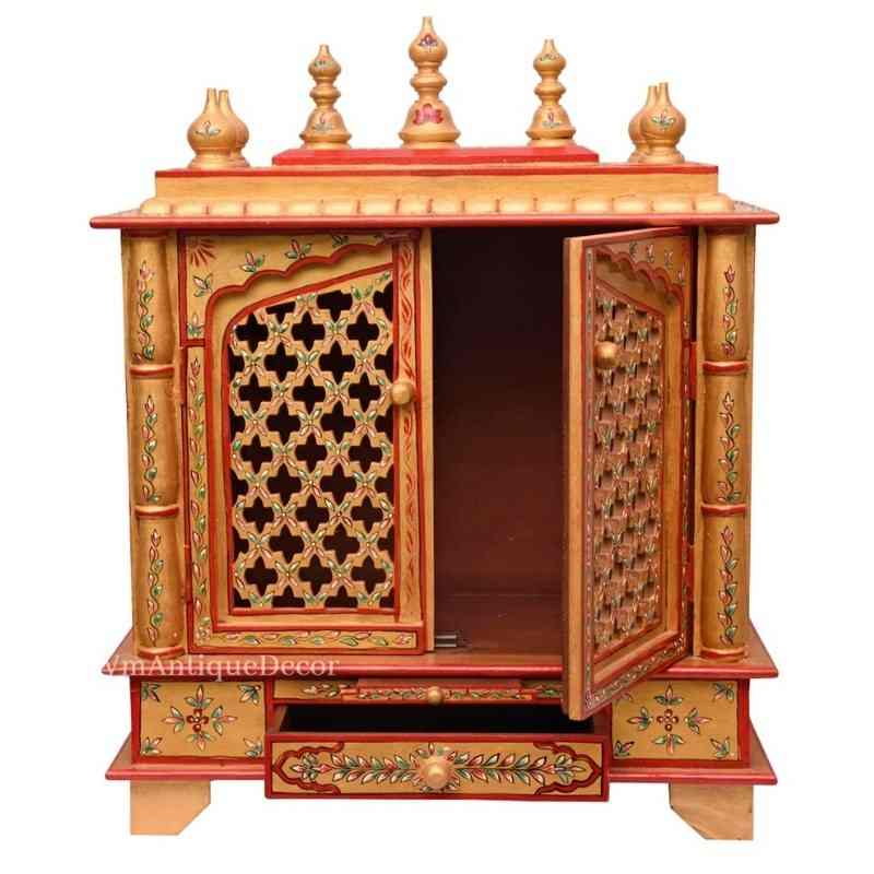 Wooden Indian Beautiful Golden Hand Painted Temple