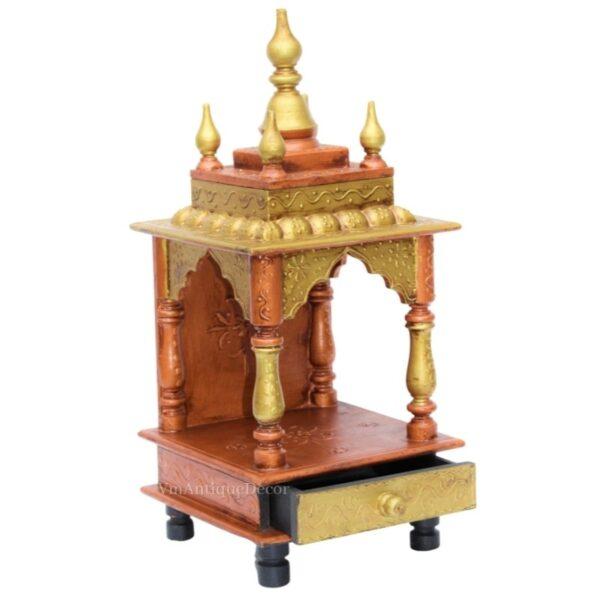 Copper Beautifull Indian Wooden Temple Mandir
