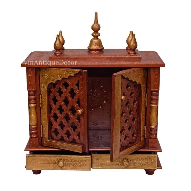 Beautifull Indian Handmade Wood Silver Temple