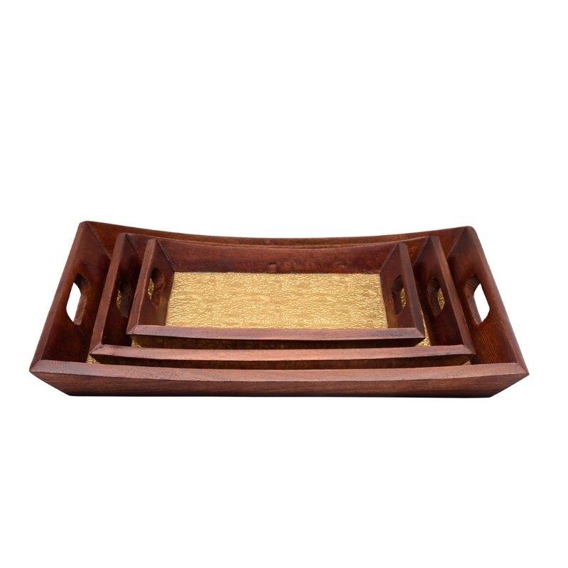 Wooden Brass Tray