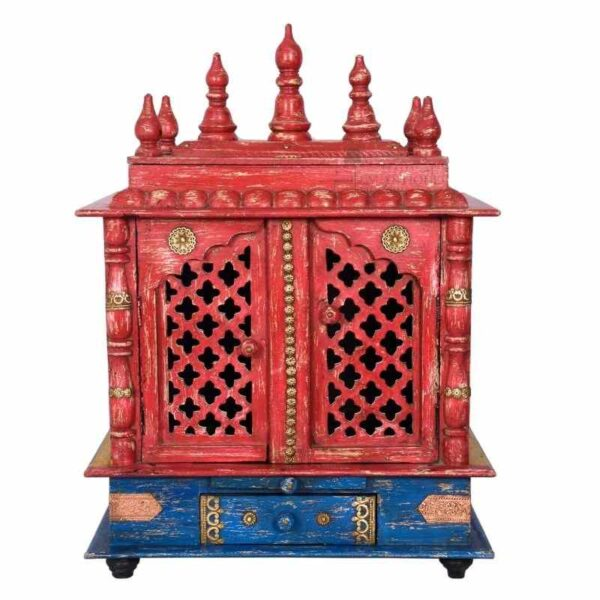 Indian Handmade Brass Fitted Distressed Colour Beautiful Mandir Pooja Stand