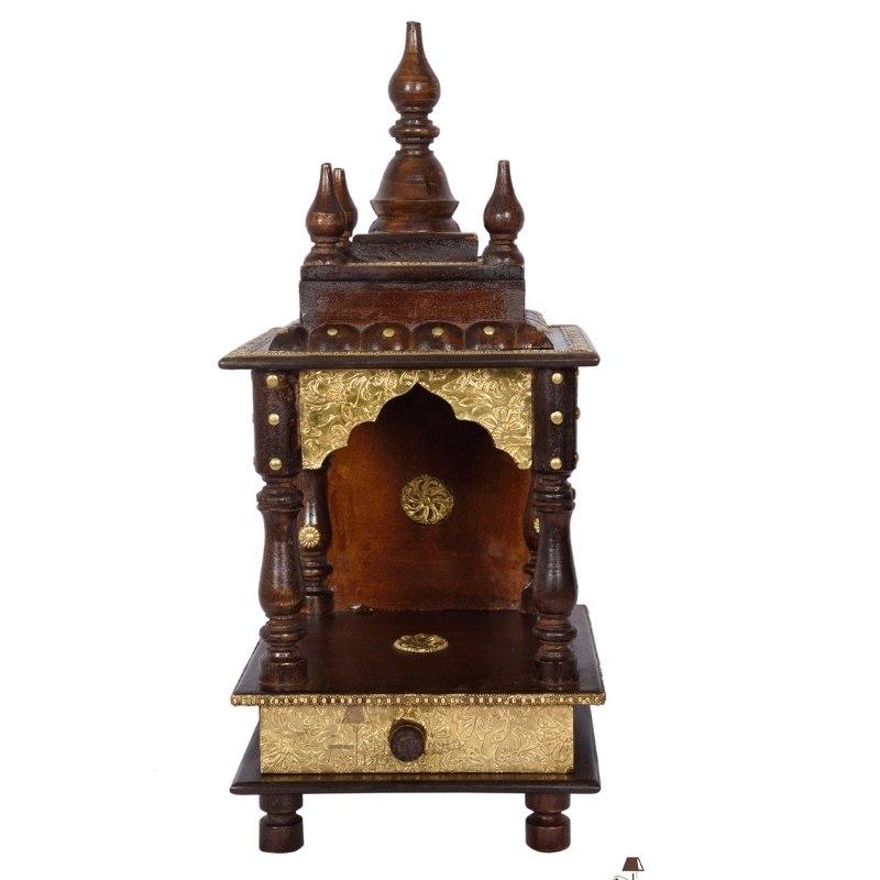 Wood Beautiful Brass Indian Pooja Stand Temple/Hindu mandir